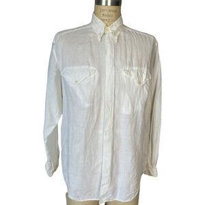 Vintage Giorgio Armani White Linen Button Down Shirt